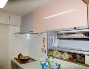 広々スペースを確保、大収納ラクシーナのキッチンリフォーム パナソニック ラクシーナ 設置写真